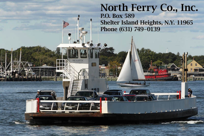 Ferry boat crossing Shelter Island Sound with passengers and vehicles.